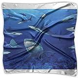 Shark Swim Blue Ocean Women's Square Scarf Headdress Fashion Neckerchief