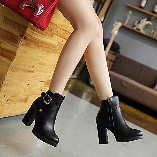 de tacón terciopelo botas gruesa más de de ZHZNVX de toe Martin alto tacón punta black botas alto zapatos Los qnz8aW6p