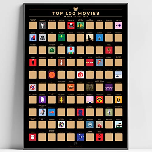 Enno Vatti 100 Movies Scratch Off Poster - Top Films of All Time Bucket List (16.5 x 23.4 in) -