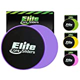 Elite Sportz Core Workout Exercise Sliders - Set of 2 Gliding Discs - Perfect for Crossfit, Cross Training, Abdominal Workout Routines - Dual Sided Design Works on Carpet or Hard Floors - Purple