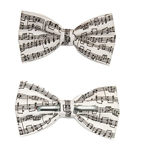 Men's Musical Notes Sheet Music Black/White Clip On Cotton Bow - Tie Music Sheet