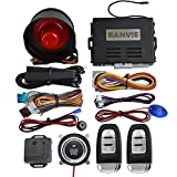 BANVIE Smart PKE Passive Keyless Entry Car Alarm System with One Touch Push Engine Start Button & Remote Engine Start/Stop (PKE + 1-Way Alarm + Remote Starter + Push Start Stop Button)