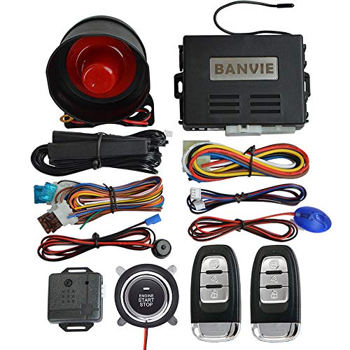 BANVIE Smart PKE Passive Keyless Entry Car Alarm System with One Touch Push Engine Start Button & Remote Engine Start/Stop (PKE + 1-Way Alarm + Remote Starter + Push Start Stop Button) ()