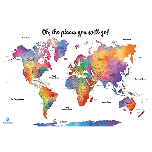 OFF Watercolor World Scratch Off Map Travel Tracker US States - Scratch off us state maps with pencil 25 pack