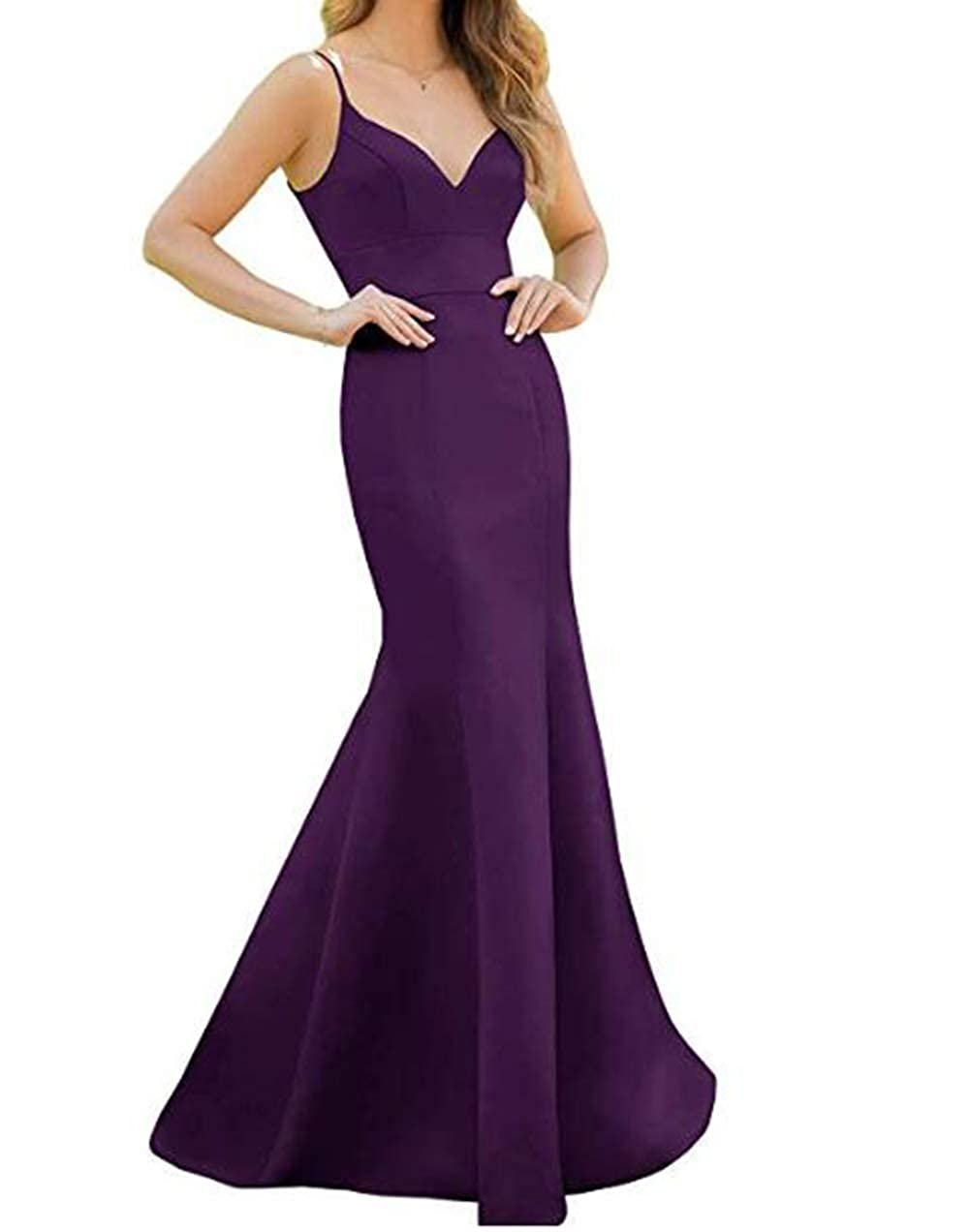 Plum Tsbridal Women's Spaghetti Straps Satin Bridesmaid Dress Long Mermaid V Neck Formal Prom Evening Party Dresses