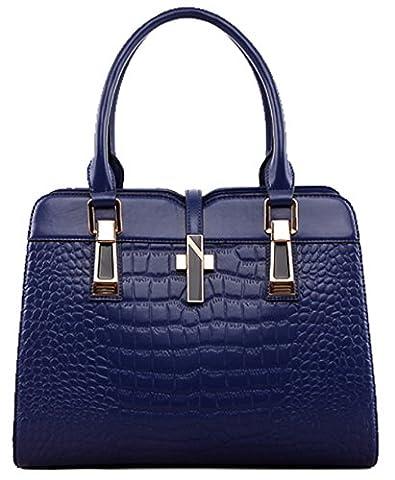 SAIERLONG Women's Cross Body Bag Handbag Tote blue Cow Leather - OL commuter CROCO Crocodile Embossing