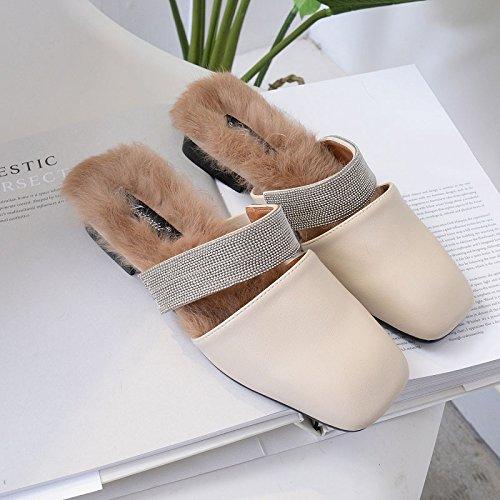 Felpa Pateó Venta Zapatos Mitad Beige La Pereza Baotou Otoño Invierno E Femenina Plana Zapatillas Caliente HGTYU Zapatos De Mujer Nueva De Temporada La De Marea La Ambulante v7U8qnAa