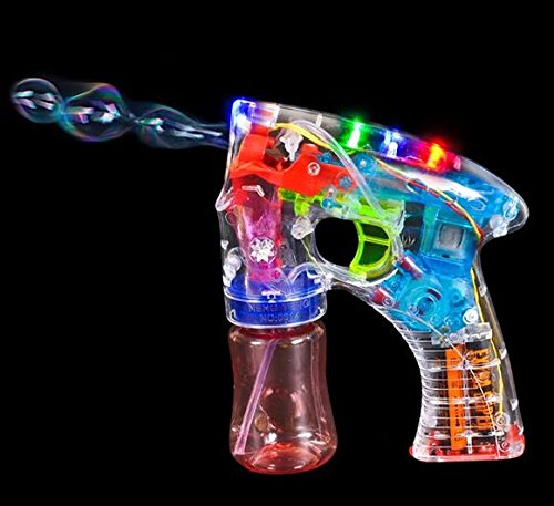 Kicko Light-Up Bubble Gun Blaster - 1 Pack - Bubble Blower Machine for Outdoor Activities, Party Favors, Gifts - 5.5 Inches, 1 Piece