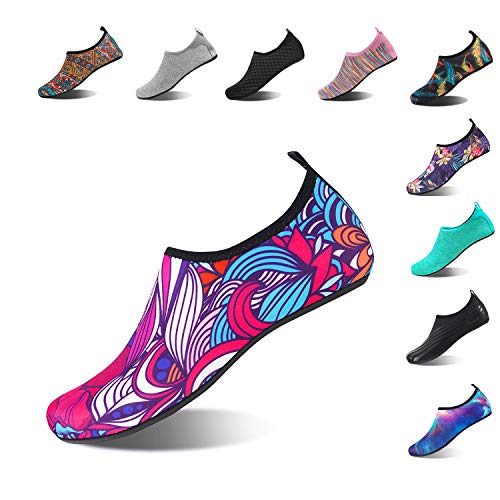 HMIYA Aqua Socks Beach Water Shoes Barefoot Yoga Socks Quick-Dry Surf Swim Shoes for Women Men (Abstract Flower, 40/41EU) ()