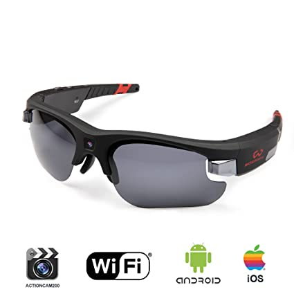 140fd5a943d Wosports Video Spy Camera Sunglasses WiFi Hunting Fishing Sports Glasses HD  720P 8GB Hidden Video Recorder