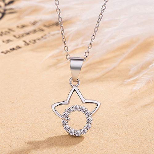Solid 925 Sterling Silver Star Circle Pendant CZ Rolo Chain Necklace Girls Gift