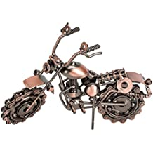 Creative Retro Iron Handmade Metal Motorcycle Model, Creative Desk Table Decoration Ornaments,Home Décor Collectible Vehicles (Brass)
