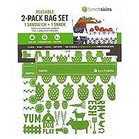 Lunchskins Reusable 2 Piece Food Storage Bag Set, 1 Sandwich Bag + 1 Snack Bag, Green Farm