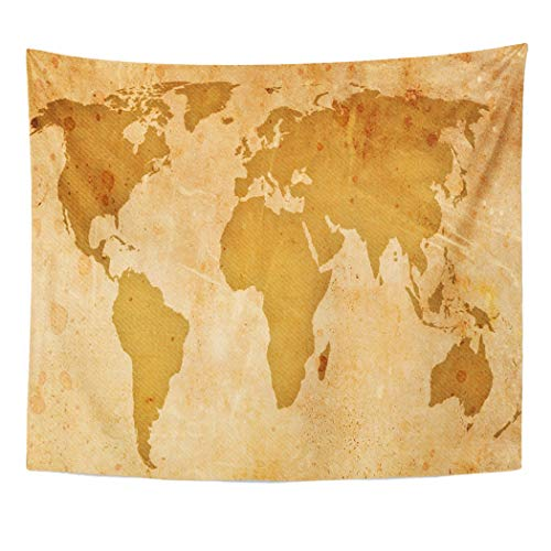 (Emvency Decor Wall Tapestry Ancient Vintage Map of The World Historical Australia America Atlantic Wall Hanging Picnic for Bedroom Living Room Dorm 60x50 Inches)