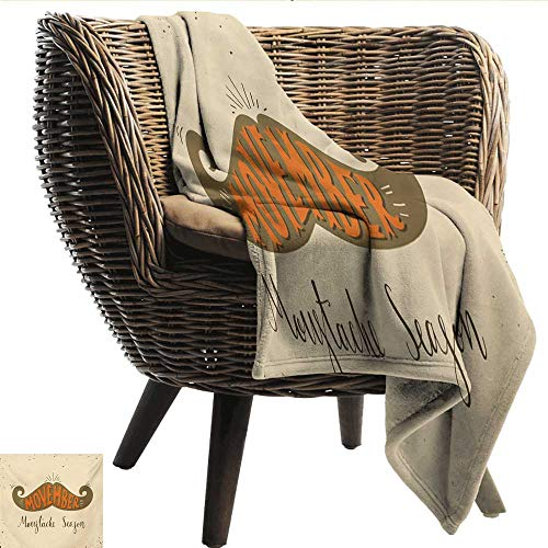 (EwaskyOnline Quote Baby Blanket No Shave November Occasion Mustache Season Movember Theme Retro Style Recliner Throw,Couch Throw, Couch wrap 72