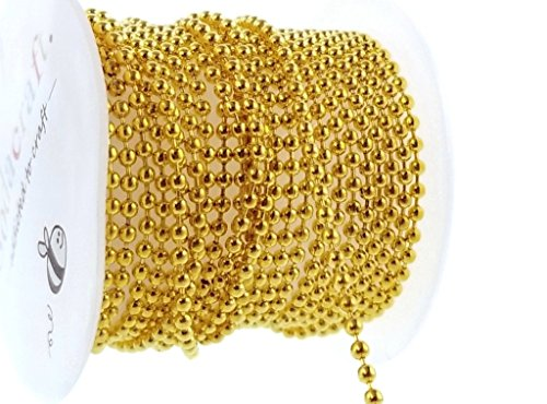 Gold Solid Brass Bead Ball Chain Mini Spool for Jewelry Making, Crafts (2mm) - Ball Copper Solid Chain