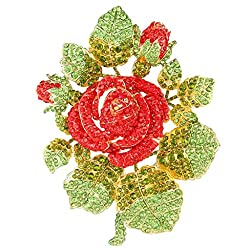 Crystal Rose Flower Leaves Brooch