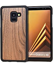 Samsung Galaxy A8 Wood Case | Real Bamboo or Walnut Wooden Backplate With Polycarbonate Protective Bumper and Shock Absorbing Rubber Coating for Optimal Protection