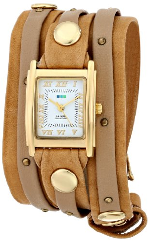 La Mer Collections Women's Quartz Stainless Steel and Leather Casual Watch, Color:Brown (Model: LMSW2002)