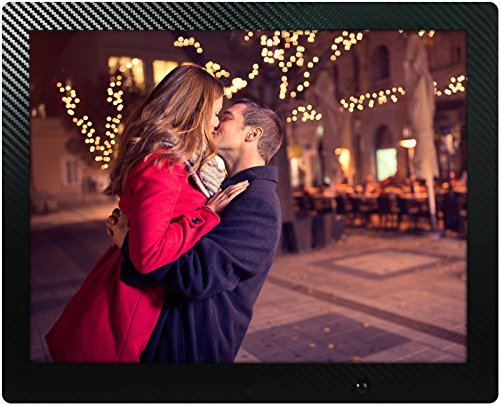 15 inch HD Digital Picture Frame Carbon Fiber - 1080p High Definition Electronic Photo & Video With 16GB Memory, Motion Sensor, Built-In Speakers & Remote Control - (Black) by Spiro Goods
