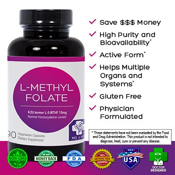 Save $$$ MD Live 5-MTHF L-Methylfolate 15MG Professional Strength Active Folate 90 Capsules by MD Life (Image #1)