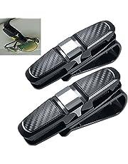 FineGood Pack de 2 soportes para gafas de sol para coche, gafas de sol clip para tarjetas de crédito, color negro