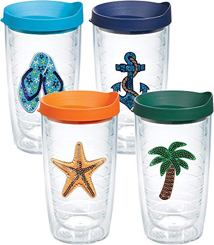 Tervis 1308638 Sequins Beach Life Insulated Tumbler with Emblem and Assorted Lid 4 Pack - Boxed 16oz Clear