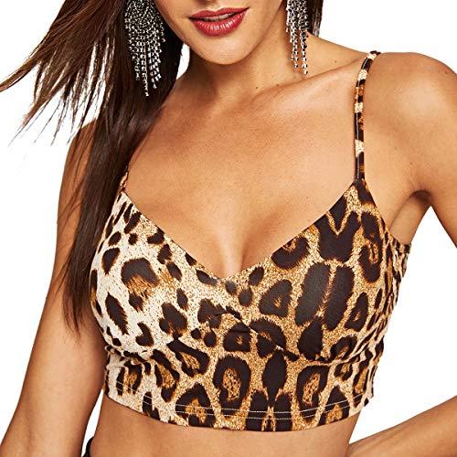 SheIn Women's V Neck Leopard Print Zip Back Bustier Cami Crop Top Multicolor Medium