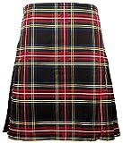 Gents Scottish Kilt Full 8 Yard 24in Drop Waist 38-40 Colour Stewart Black Tartan