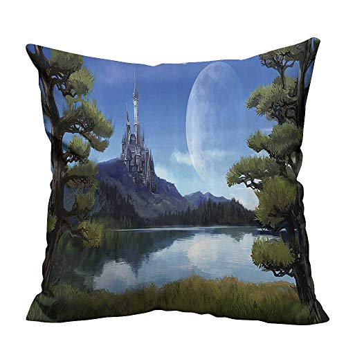 YouXianHome Throw Pillow Cover for Sofa Surreal e with Riverside Lake Forest and Medieval Castle Hill Textile Crafts (Double-Sided Printing) 20x20 inch]()