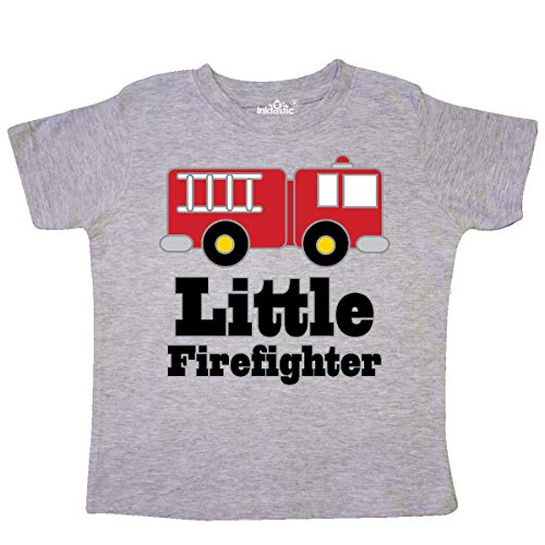 inktastic - Little Firefighter Fire Engine Toddler T-Shirt 3T Heather Grey 1854f
