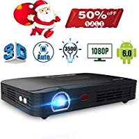 """Projector 3500lumens Mini Portable DLP 3D Video Projector Max 300 """" Home Theater Projector Support 1080P HDMI WiFi Bluetooth USB VGA PS4 Great for Gaming Business Education Built-in Speaker&Battery"""