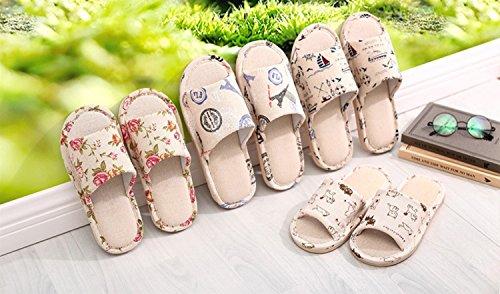 Lino 41 Uomo colore 40 Gr Per Cotone Formato Donna Sandali E Di Antiscivolo Tela Pantofole Floreale FqfRw5H