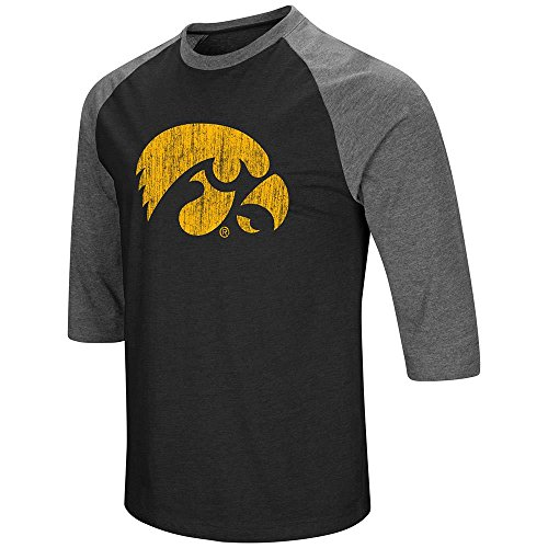 Mens Iowa Hawkeyes 3/4 Sleeve Raglan Tee Shirt - - 3/4 Football Sleeve