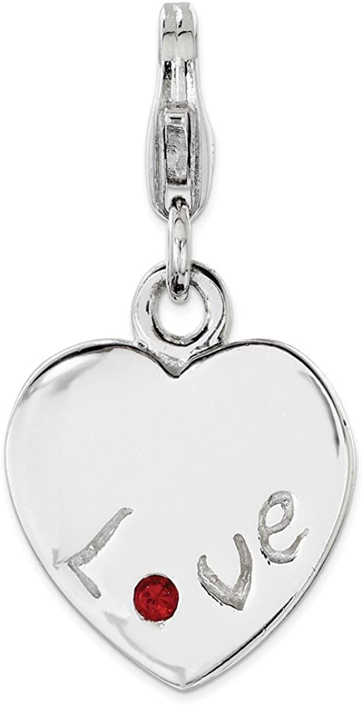 925 Sterling Silver CZ Heart Polished Charm Pendant