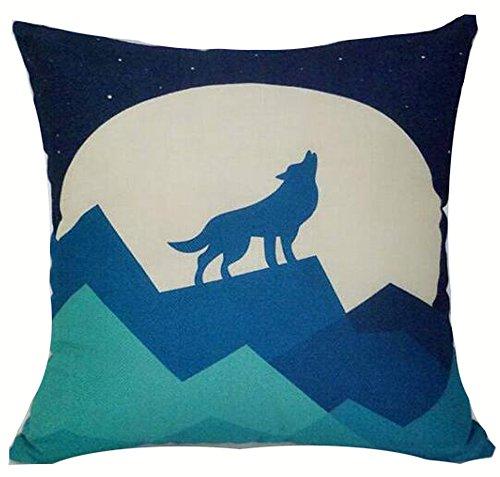 Elephant Deer Mountains Cotton Linen Throw Pillow Case Cushion Cover Home Sofa Decorative 18 X 18 Inch (17) ()