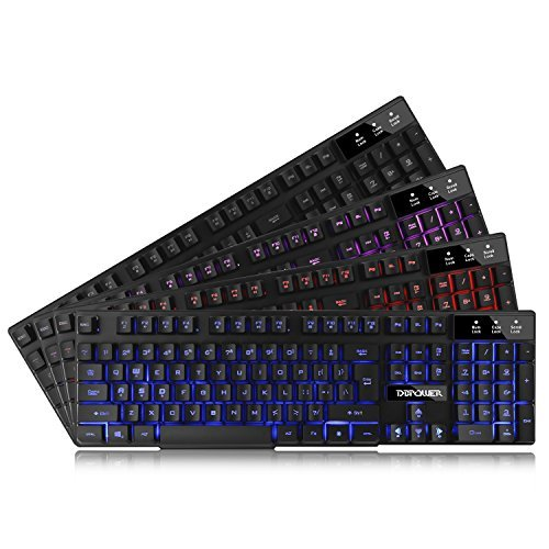 51aCK6k9bWL - DBPOWER Three Colors Backlit LED Keyboard for Gaming, Office