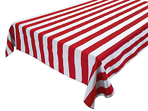 Striped Cotton Tablecloth (lovemyfabric Cotton 1 Inch Striped Tablecloth for Wedding/Bridal Shower, Birthdays/Baby Shower, Special Events (58
