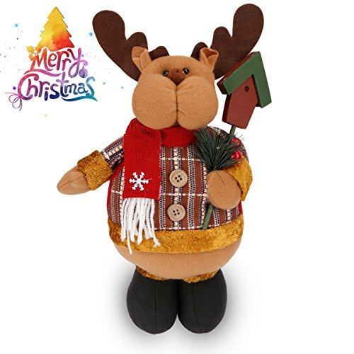 christmas figure plush standing toy holiday week christmas day gift ornament decoration cute lovely adorable xmas - Indoor Christmas Reindeer Decorations