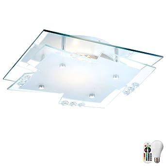 RGB LED Deckenlampe dimmbar Wohnzimmer Beleuchtung Chrom Fernbedienung Leuchte