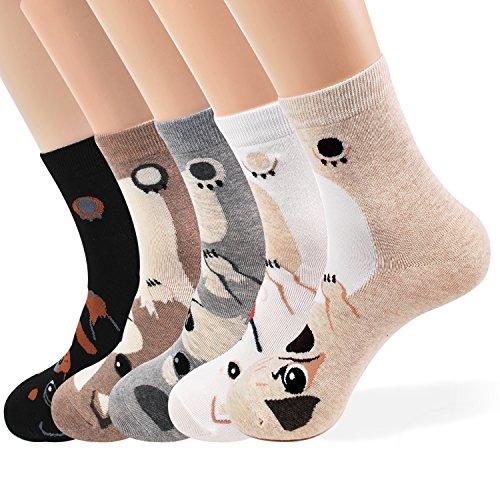 Women Socks Gift Set - Animal Cat Dog Art Cartoon Character Funny | Gift Socks | Christmas Gifts for Ladies, Girlfriend, Mom (Animal - 5 -
