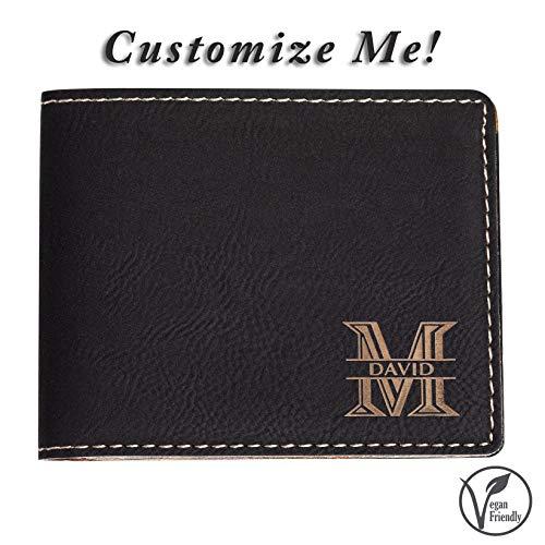 Emenar Custom Personalized Black Wallet Vegan Leather Bifold Slim Wallet for Men, Perfect Gift, Black