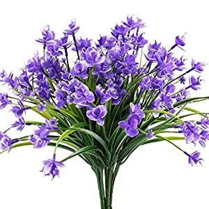 Escolourful Artificial Orchid Flowers,Fake Plants Greenery Shrubs Eucalyptus Branches with Purple Baby's Breath Flower Plastic Bushes House Office Garden Patio Yard Indoor Outdoor Decor 37