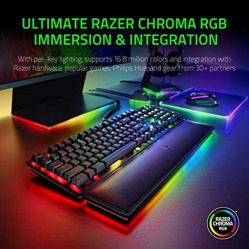 Razer Huntsman Elite Gaming Keyboard: Fastest Keyboard Switches Ever – Clicky Optical Switches – Chroma RGB Lighting – Magnetic Plush Wrist Rest – Dedicated Media Keys & Dial – Classic Black 51aCKk6AMWL