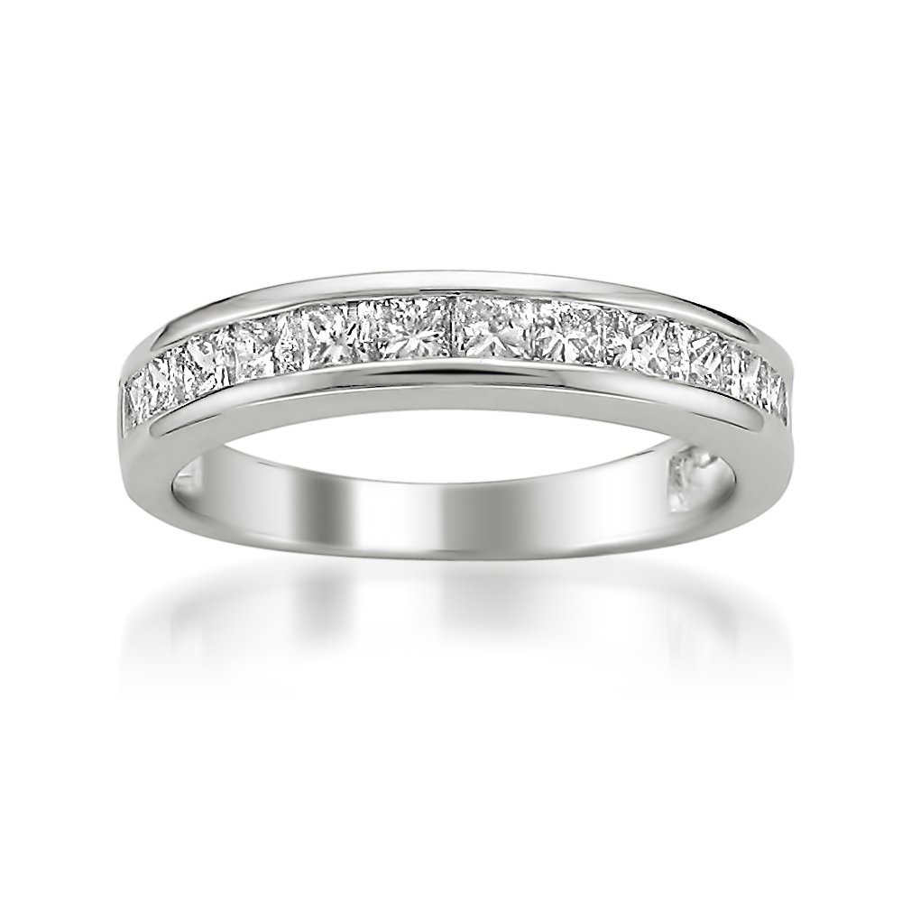 14k White Gold Princess-cut Diamond Bridal Wedding Band Ring (1 cttw, I-J, I2-I3), Size 9