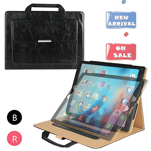 iPad Pro 12.9 Case with Hand Strap, IELECMG Stand Folio Case Cover for iPad Pro 12.9 inch (2017/2015 Models), Men Pocket Handbag for Pencil Holder, Smart Sleep-Wake Cases for Apple 12.9 Tab - Black