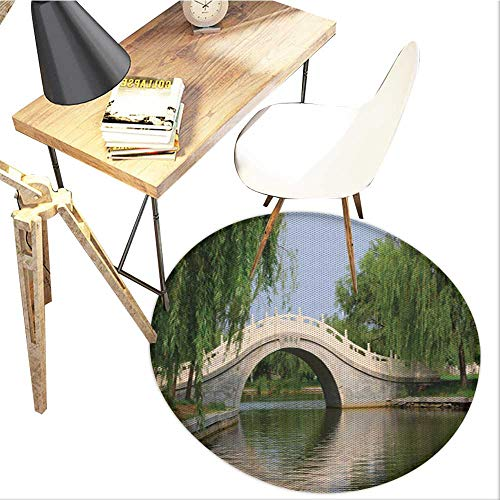 Willow Tree Round Area carpet,Scenery Forest Park View with Arch Bridge Over The River Calming Photo Image Design Print,Living Room Bedroom StudyNon-Slip Round Carpet,3-Feet Diameter,Multicolor