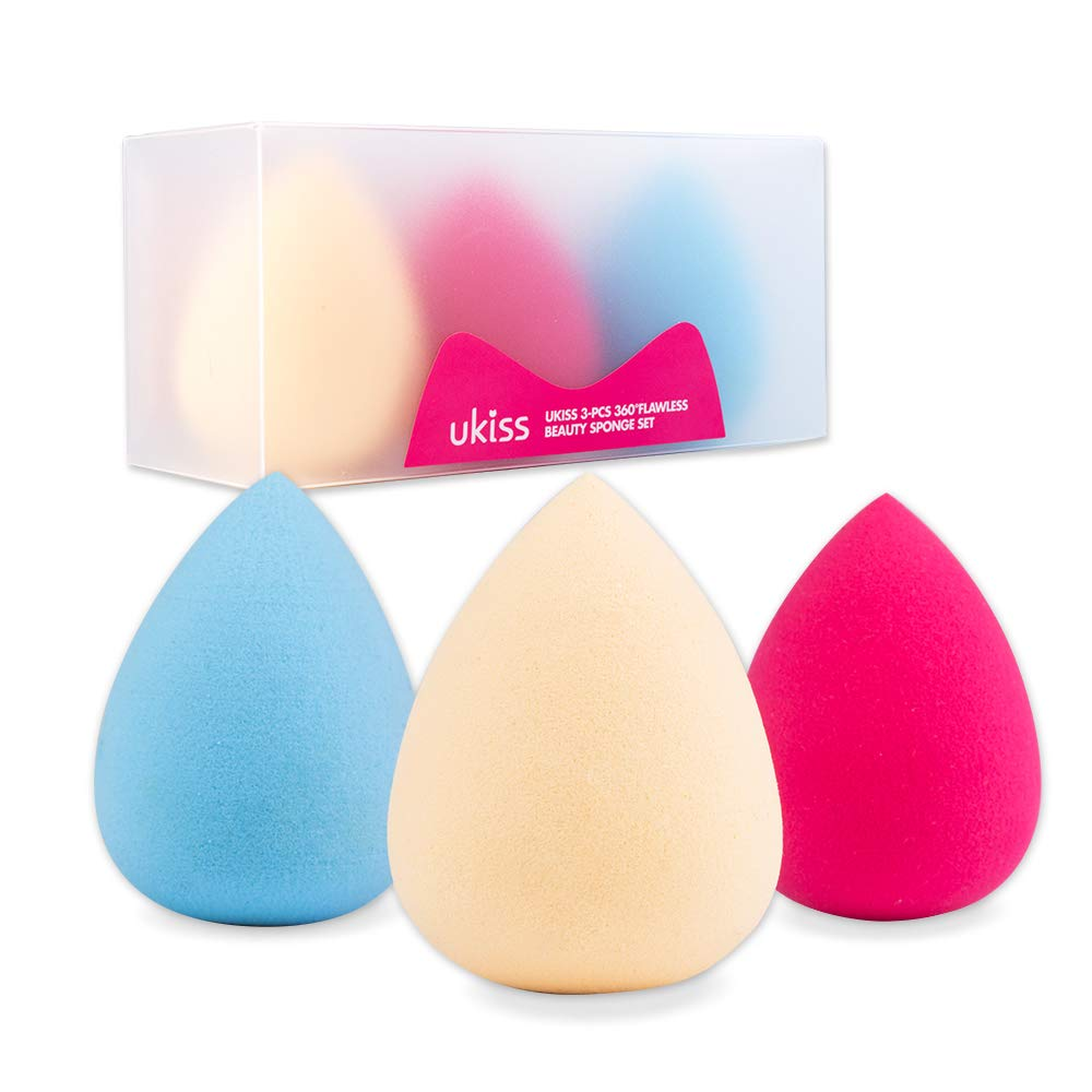 UKISS 3-PCS 360°Flawless Beauty Sponge Blender Set for Foundation, cream,powder or  Liquid Application -Latex Free & Special VE Material - Beauty Sponge Innovation -Water-drop shape