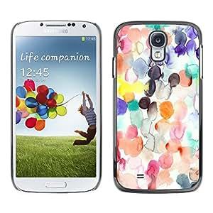 FECELL CITY // Duro Aluminio Pegatina PC Caso decorativo Funda Carcasa de Protección para Samsung Galaxy S4 I9500 // Watercolor Spots Pastel Abstract Kids Art