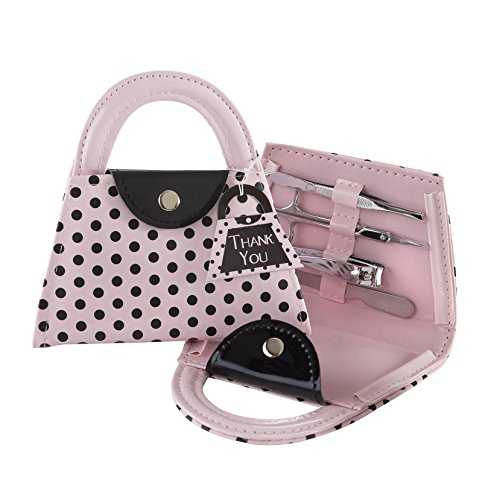 Kate Aspen Pink Polka Purse' Manicure Set (Set of 24), -